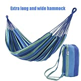 OnCloud Double Hammock for Travel Camping Backyard, Porch, Outdoor or Indoor Use, Carrying Pouch Included Blue/Green Stripes