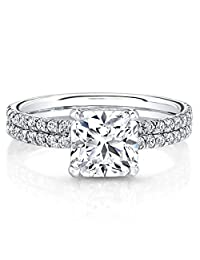 18K Solid White Gold Ring 0.87 Ct Solitaire Rings VVS Diamond Engagement Ring Cushion Cut Diamond Ring Size 5 6 7 8 All Available