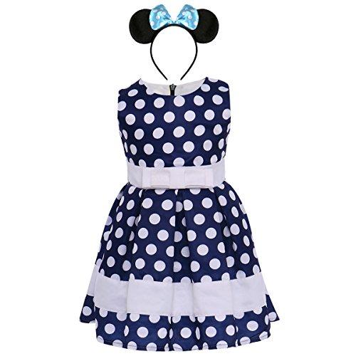 Girl Sleeveless Polka Dots Princess Birthday Party Minnie Costume Tutu Dress Vintage Halloween Cosplay Wedding Pageant Ballet Dance Leotard Skirt Tulle Evening Ball Gown #2 Navy -