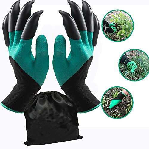 Garden Genie Gloves with Fingertips Claws Quick (Double Claw)by Awefrank --Safe for Rose Pruning –Best Gardening Tool -Best Gift for Gardeners-Great for Digging Weeding Seeding poking