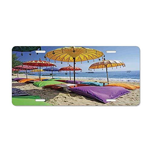 - Wonderhorsegala Balinese Decor Pristine Beach Bathed by The Bali Sandy Seashore Daytime Umbrellas Pillows Leisure Custom Decorative Front Car Tag for US Standard 12 x 6 in Aluminum