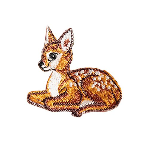 XUNHUI Deer Embroidered Animals Applique Patches Iron On Sewing Patch for Cloth Jean Clothing Bags Shoes 2 Pieces