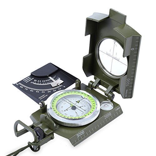 Multifunction Military Compass - iParaAiluRy Professional Waterproof and Shakeproof Navigation Survival & Mapping Gear with Inclinometer for Outdoor Camping and Hiking by iParaAiluRy