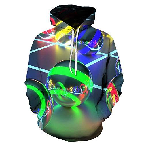 MEN.CLOTHING-LEE Hoodie HD 3D Digitaldruck Pullover Leichtes Sweatshirt Kangaroo Pocket Luminous Ball