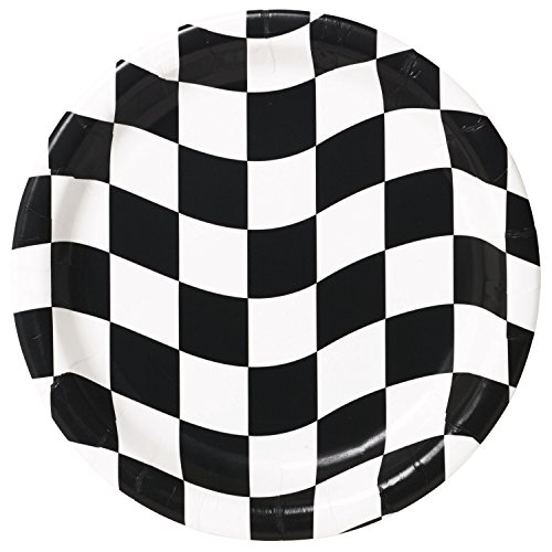 Black and White Check Paper Plates, 24 ct -