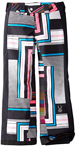 Spyder Girls Thrill Athletic Pant, 14, Black Vybe Print/Black (Thrill Athletic Fit Pant)