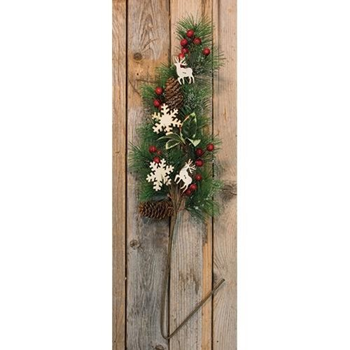 Heart of America Pinecone & Berry Spray with Wood Cutouts - 30''