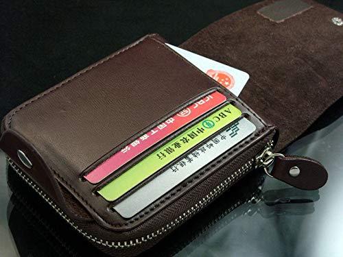 LvBo Mens Leather Zipper wallet Zip Around Wallet Bifold Multi Card Holder Purse