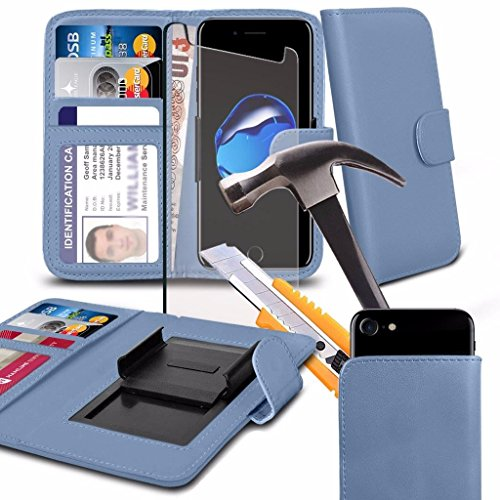 Samsung Galaxy J3 Eclipse (5) - Hülle Qualität Clamp Style Protective PU-Leder-Mappen-Kasten-Abdeckung with Tempered Glass (Blue) by i-Tronixs Baby Blue