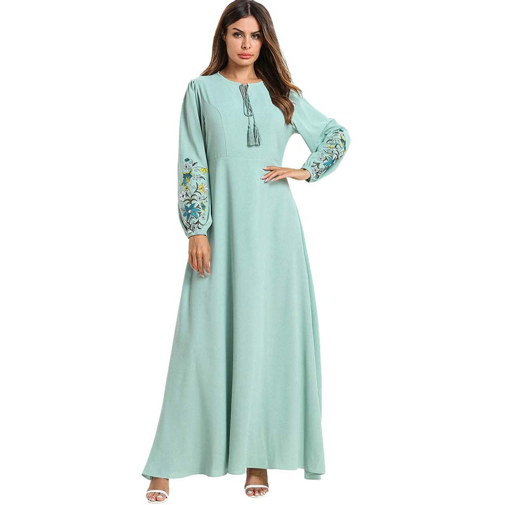 Women's Slim Ethnic Style Maxi Dress,Muslim Embroidered Long Sleeve O-neck Elegant Long Dress Retro Open Kaftan Abaya (L, Green) by PaJau