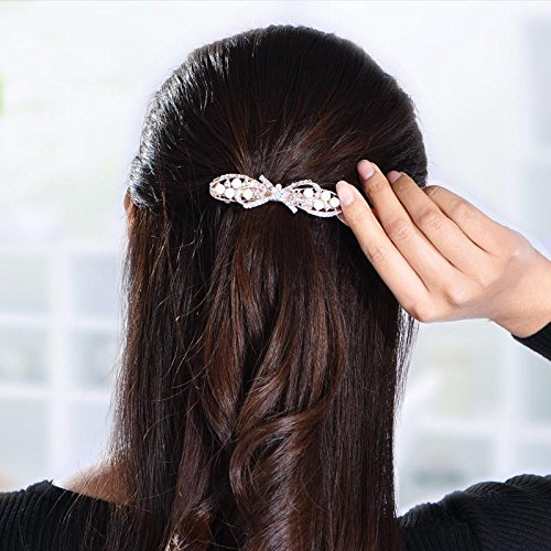 South Korean diamond crystal hairpin spring bow horse hair ornaments large female jewelry tail clip top folder folder decorated for women girl lady