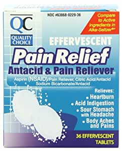 Quality Choice Effervescent Pain Relief  Antacid And Pain Reliever Tablets  36 Count Boxes (Pack of 4)