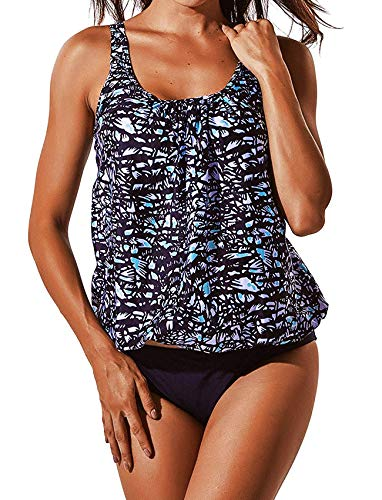 - COLO Women Two Pieces Tankini Sets Printed Loose Fit Adjustable Strap with Shorts Retro Plus Size XL