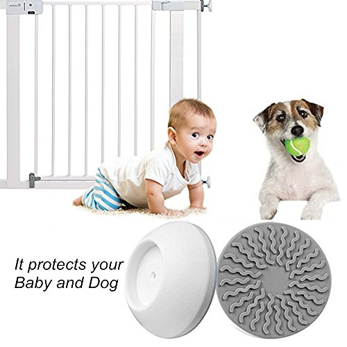 Vkania-Baby-Pressure-Gates-Wall-Protector-Extra-Wide-Walk-Through-Pet-Gate-with-Small-Pet-Door-Wall-Pad-Guard-Child-kids-Safety-Tall-Metal-Dog-Cat-Stairs-Gate-with-Extension-Wall-Mount-Saver