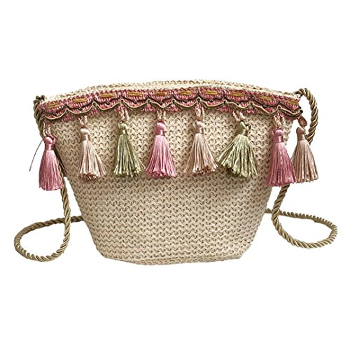 Messenger Shybuy Khaki Women's Corssbody Crochet Straw Bag Beach with Purse Summer Shoulder Bags Tassel Rqq8grn