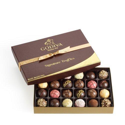 Godiva Chocolatier Signature Chocolate Truffles Gift Box, Classic, 24 Count by GODIVA Chocolatier