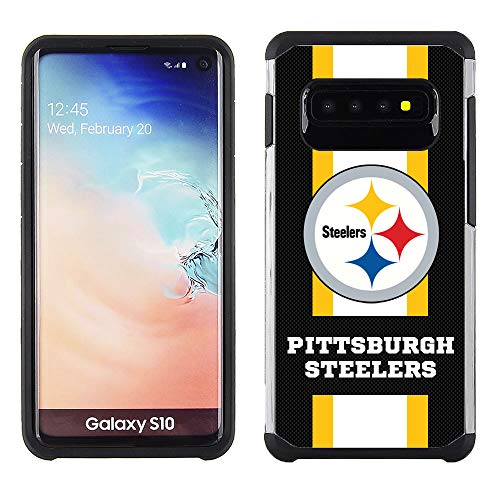 Samsung S10 - NFL Licensed Pittsburgh Steelers - Pebble Grain Striped Protective Case ()
