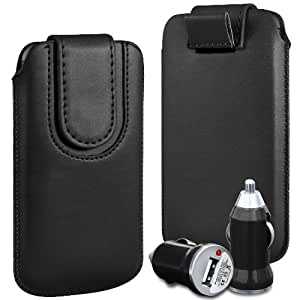 N4U Online - LG Nexus 4 E960 superior de la PU del cuero del caso del tirón de la bolsa con pestaña cierre magnético y USB cargador de coche Bullet - Negro
