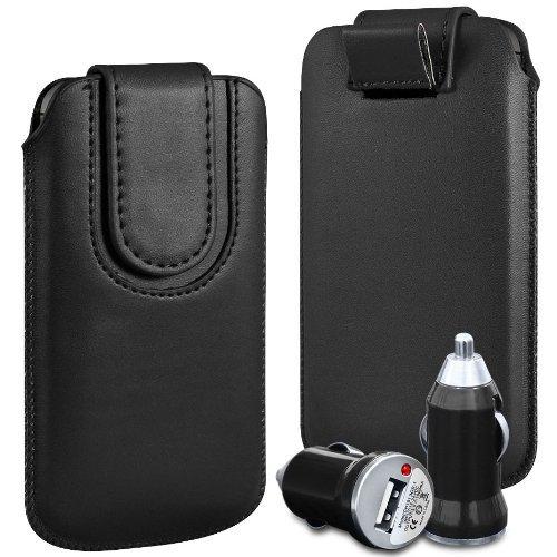 N4U Online - Apple Iphone 5S Prime PU Pull en cuir flip Tab Housse Cover Avec magnétique Fermeture de sangle et chargeur de voiture USB Bullet - Noir