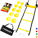 AGILITY LADDER and CONES by FireBreather. Great Training Equipment to Exercise Speed in Soccer, Football & Sports Workout. Set of 15ft Ladder, 10 Markers, 4 Stacks, Carrying Bag & Drills Ebook