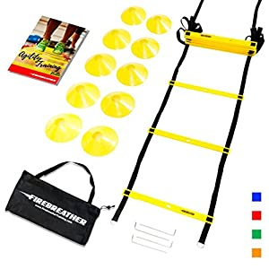 AGILITY LADDER and CONES by FireBreather. Great Training Equipment to improve Soccer, Football & Sports Skills. Easy to use, carry & store. Set of 15ft Speed Ladder, 10 Markers, 4 Pegs, Bag, eBook