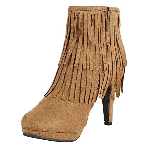 Stiefelparadies Klassische Damen Stiefeletten High Heels Stilettos Schleifen Flandell Hellbraun Fransen