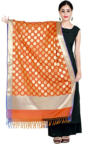 Motif Designer Scarf - Chandrakala Women's Handwoven Green Cutwork Brocade Banarasi Dupatta Stole Scarf,Free Size (D121ORA)