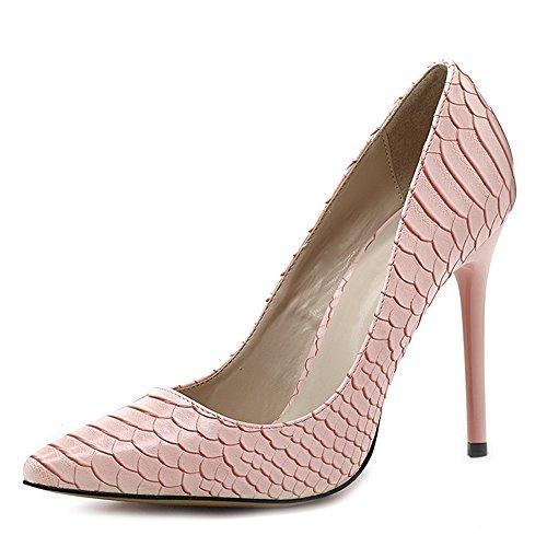 uBeauty Women's High Heel Court Shoes Snakeskin Pumps Mesh Pointed Toe Sandals Colorful, 12cm,16cm,10cm Snakeskin Pink Heel 12cm