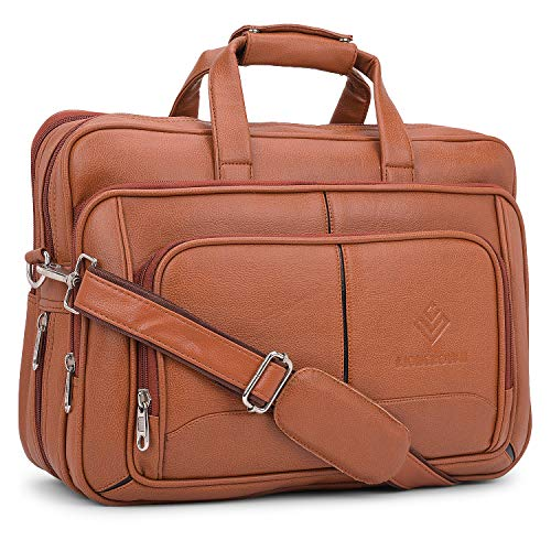 Lioncrown Vegan Leather 15.6 inches Expandable Laptop Messenger Bag  Tan