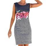 chengzhijianzhu Women's Summer Floral Print Sleeveless Skirt Dresses Bodycon Sundress Navy