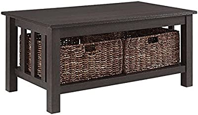 """Pemberly Row 40"""" Wood Storage Coffee Table in Espresso with Baskets"""