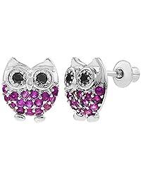 Rhodium Plated Fuchsia Hot Pink CZ Owl Screw Back Earrings Toddlers Little Girls