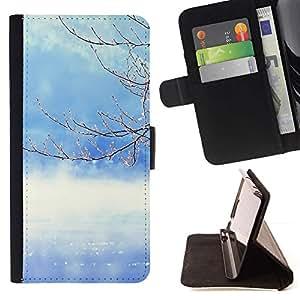 For Samsung Galaxy S6 EDGE (NOT S6) Case , Naturaleza del árbol del invierno- la tarjeta de Crédito Slots PU Funda de cuero Monedero caso cubierta de piel