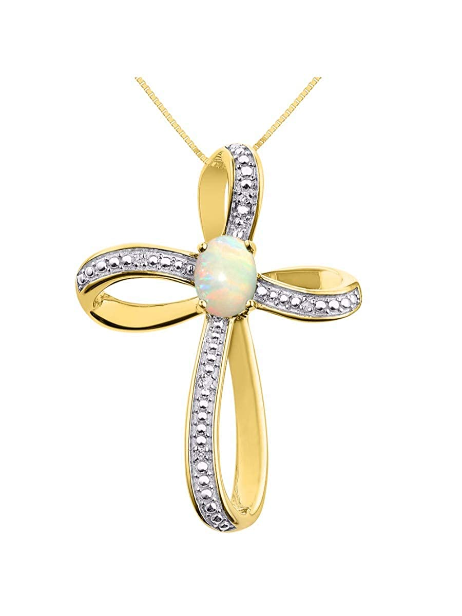 RYLOS Stunning Cross Pendant with Oval Shape Gemstone /& Genuine Sparkling Diamonds in 14K Yellow Gold Plated Silver .925-8X6MM Color Stone Necklace With 18 Chain