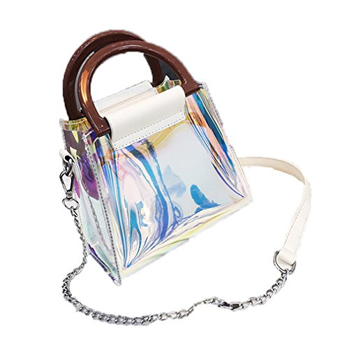 Crossbody Women White Tote Transparent Bag amp;OS Purse Bag Shoulder Laser Evening Handbag ZJ Jelly fxqgRpHw