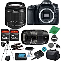 Canon EOS 80D Camera with 18-55mm IS STM Lens + Tamron 70-300mm AF + 2pcs 16GB Memory + Camera Case + Memory Card Reader + Professional Tripod + 6pc ZeeTech Starter Set