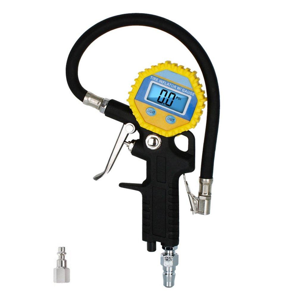 Locisne Manometro digitale pneumatico pneumatico, pneumatico pneumatico ad alta pressione professionale pneumatico 150 PSI con tubo flessibile per auto, moto, bicicletta, SUV