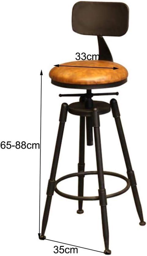 65-88cm Chaise pivotante r/églable en hauteur de tabouret de bar industriel vintage avec dossier et pied en fer QWER Tabouret de Bar