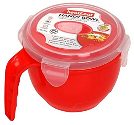 Heat & Eat - Cuenco para microondas, color rojo: Amazon.es ...