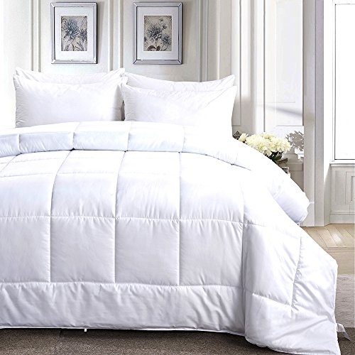 Merssa Down Alternative Microfiber Comforter 400 GSM Lightweight Duvet Insert Brushed Microfiber Fabric Machine Washable (Full/Queen - 88''X88'', Solid White) by Merssa (Image #1)