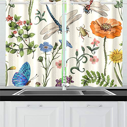 (VNASKL Dragonfly Hand Animated Animal Wings Butterfly Bush Kitchen Curtains Window Curtain Tiers for Café, Bath, Laundry, Living Room Bedroom 26 X 39 Inch 2 Pieces)
