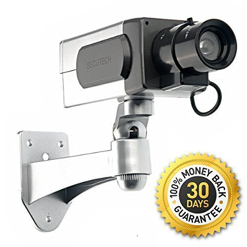 """Blindspotter Motion Detector Dummy Camera - Best Inexpensive Alternative / Supplement For Security - Includes E-book """"How to Improve Your Home Security"""" - Decoy Security Camera - Fake Security Signs Included - Motorized Panning Movement With Motion Sensor"""