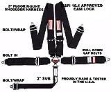 RACERDIRECT.NET CAM Lock Floor Mount Racing SEAT Belt 5 PT 3'' SFI 16.1 Black