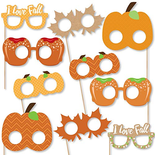 Big Dot of Happiness Pumpkin Patch Glasses and Masks - Paper Card Stock Fall & Thanksgiving Party Photo Booth Props Kit - 10 Count -