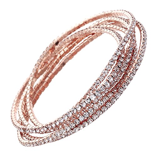 Rosemarie Collections Women's Set of 5 Rhinestone Stretch Bracelets (Rose Gold/Clear Crystal) - Gold Clear Crystal