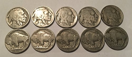 - 10 Buffalo Nickels 1924-1937 Good