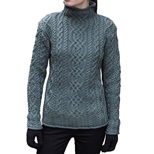 Funnel Cable Neck - WESTEND Ladies Knit Funnel Neck Supersoft Wool Sweater (Thundra, Small)