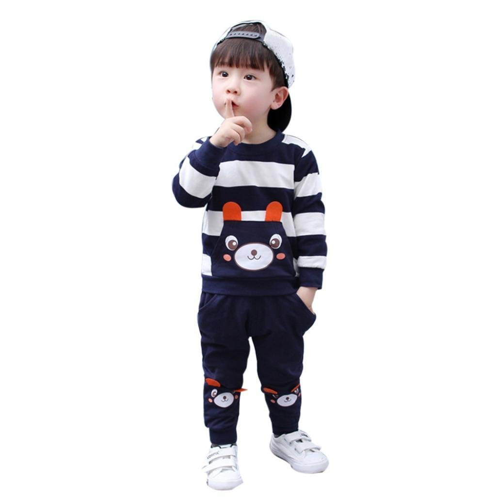 AMSKY Toddler Kids Baby Boys 2Pcs Clothes Set Cotton Cozy Striped Bear Tops+Pants Outfits