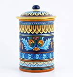 Hand Painted Italian Ceramic 9-inch Canister Geometrico 38E - Handmade in Deruta