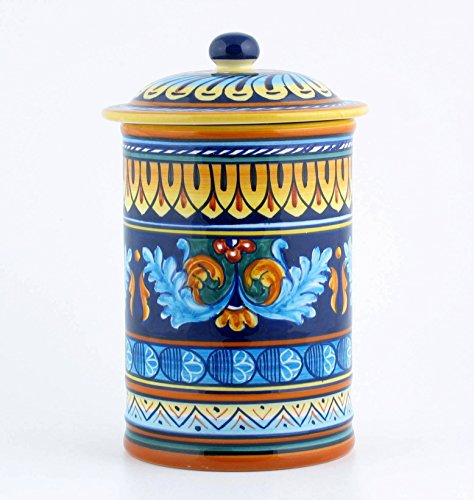 Eugenio Ricciarelli Hand Painted Italian Ceramic 9-inch Canister Geometrico 38E - Handmade in Deruta